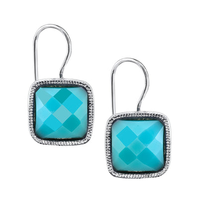 Silver Tone Turquoise Blue Square Drop Earrings