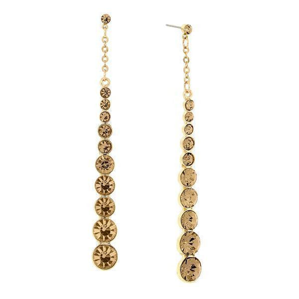 Gold-Tone Lt. Colorado Topaz Long Linear Earrings