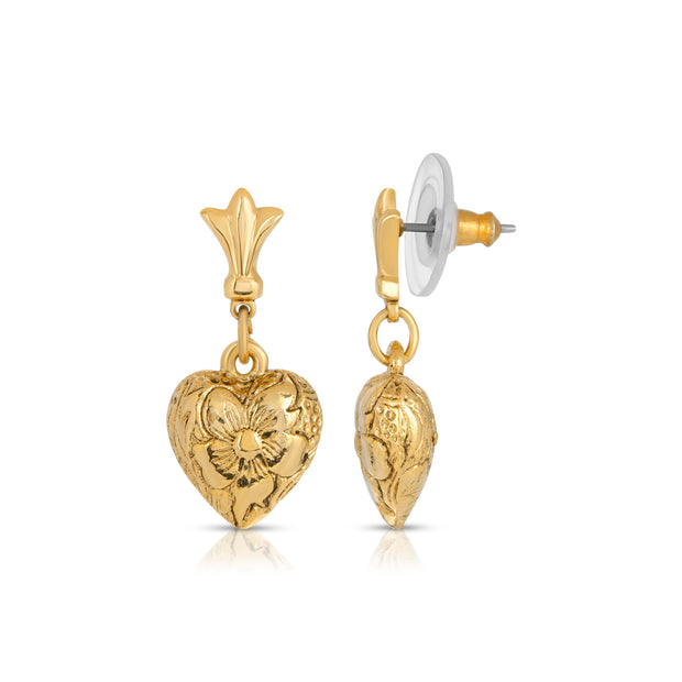 Gold Tone Textured Heart Drop Earrings