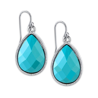 Silver Tone Turquoise Blue Color Pearshape Drop Earrings