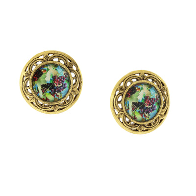 14K Gold Dipped Grapes Decal Round Post Earrings