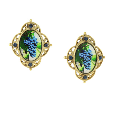 14K Gold Dipped Purple Grapes Decal Post Earrings