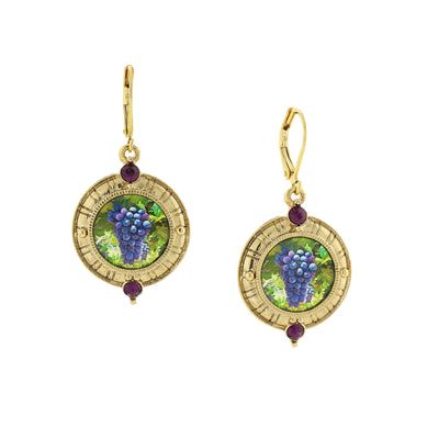 14K Gold-Dipped Purple Grapes W/ Amethyst Stone Accent Leverback Drop Earrings