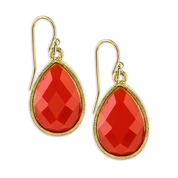 Gold-Tone Orange Pearshape Drop Earrings
