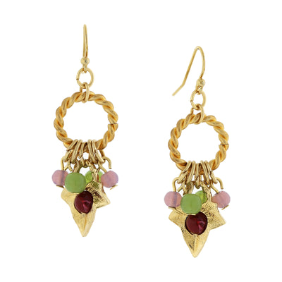 14K Gold Dippe Grape Leaf Drop With Multi Color Beads Earrings