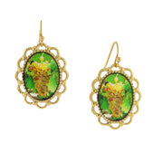 14K Gold-Dipped Yellow Grapes Decal Oval Drop Earrings