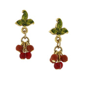 14K Gold-Dipped Petite Burgundy Beaded Drop Earrings