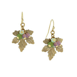 Fashion Jewelry - 14K Gold-Dipped Grape Leaf Drop Earrings with Multi-Color Bead Accents