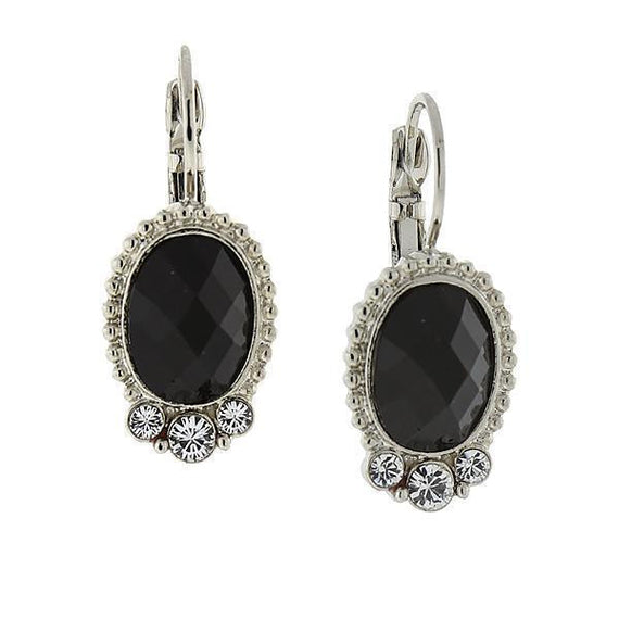Silver-Tone Black Oval w/ Crystal Accent Drop Earrings