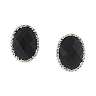 Silver-Tone Black Faceted Oval Button Earrings