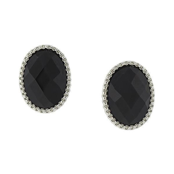 Silver Tone Black Faceted Oval Button Earrings