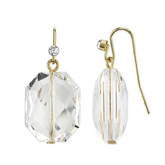 Gold-Tone Crystal Faceted Drop Earrings