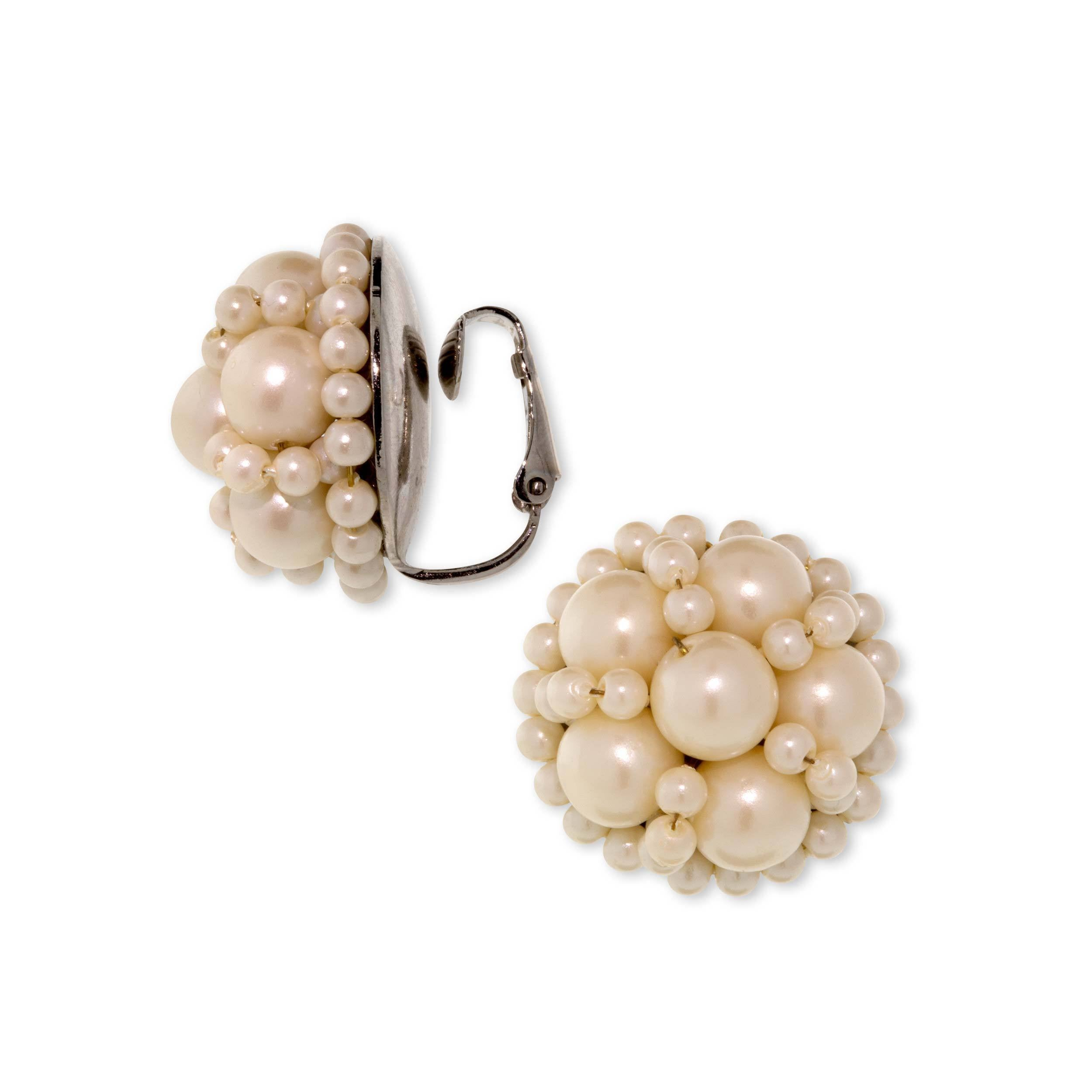 Silver Tone Large Round Multi Pearl Clip Earring
