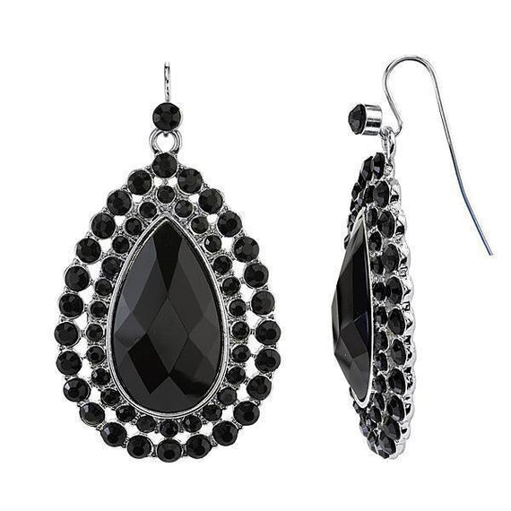 Silver-Tone Black Large Teardrop Earrings