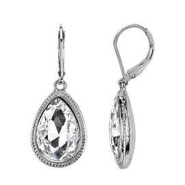 Silver-Tone Crystal Faceted Teardrop Earrings