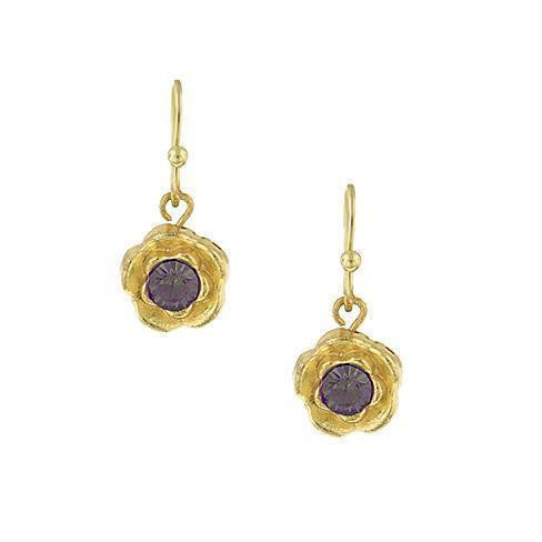 Gold Tone Purple Petite Flower Drop Earrings