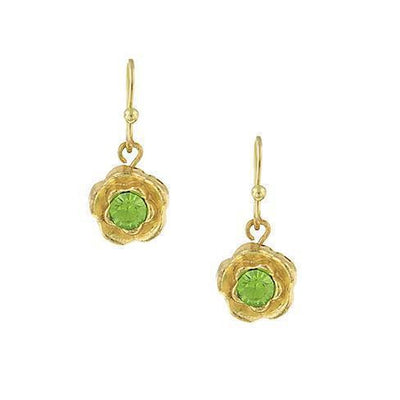 Gold-Tone Green Petite Flower Drop Earrings