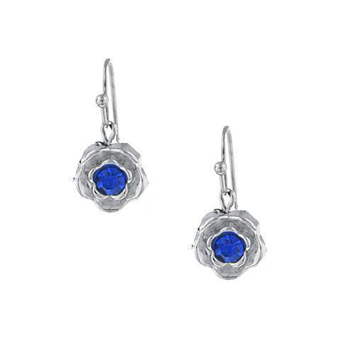 Silver-Tone Blue Petite Flower Drop Earrings