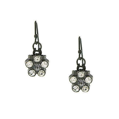 Black-Tone Grey Flower Drop Earrings