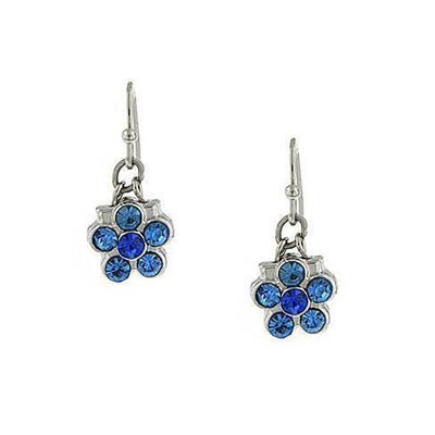 Silver-Tone Blue Flower Drop Earrings