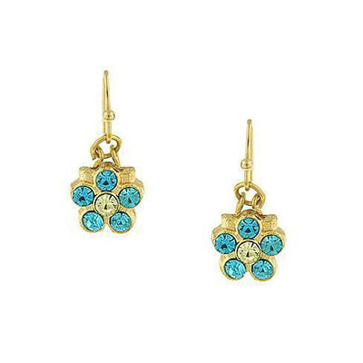 Gold-Tone Aqua Flower Drop Earrings