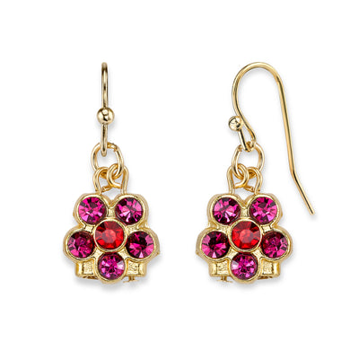 Gold Tone Fuchsia Flower Drop Earrings