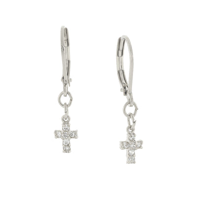 Silberfarbene Zirkonia Petite Cross Drop Ohrringe