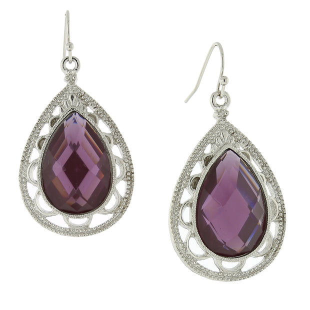 Silver-Tone Purple Filigree Pearshape Drop Earrings