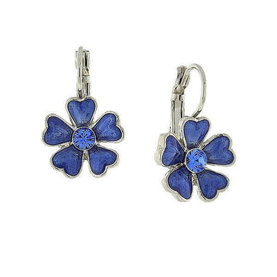 Silver Tone Blue Enamel Flower Drop Earrings