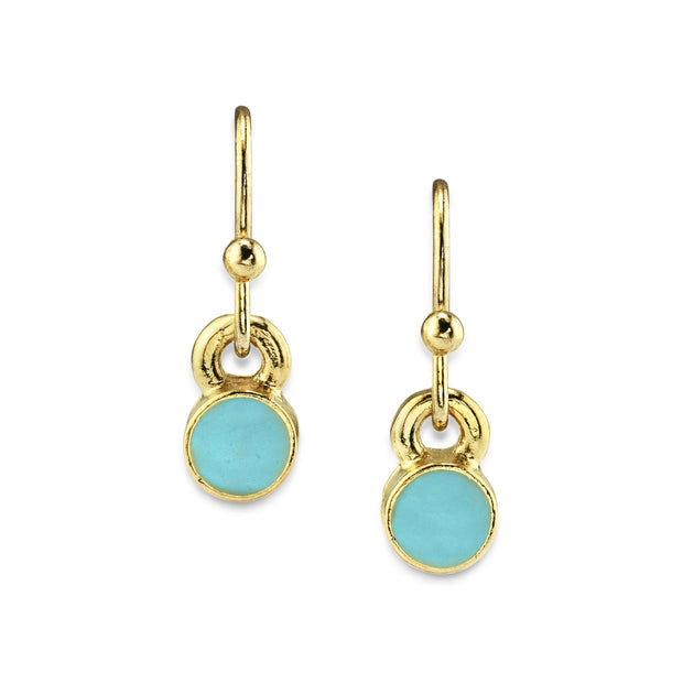 14K Gold Dipped Round Enamel Wire Drop Earrings Light Blue