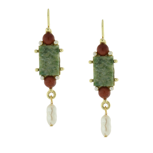 Green Aventurine Rectangle Costume Pearl Drop Earrings