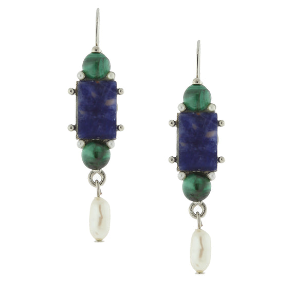 1928 Jewelry: 1928 Jewelry - Silver-Tone Semi-Precious Lapis Rectangle Pearl Drop Earrings