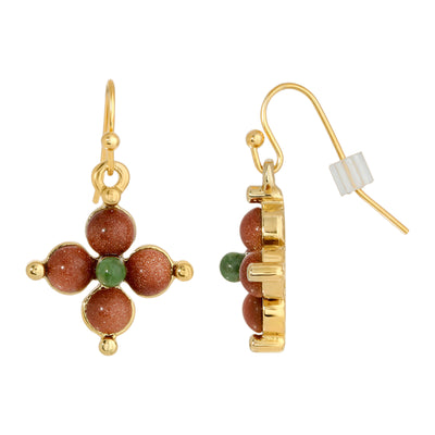 Gold Tone Gemstone Gold Stone And Green Aventurine  Drop Earrings