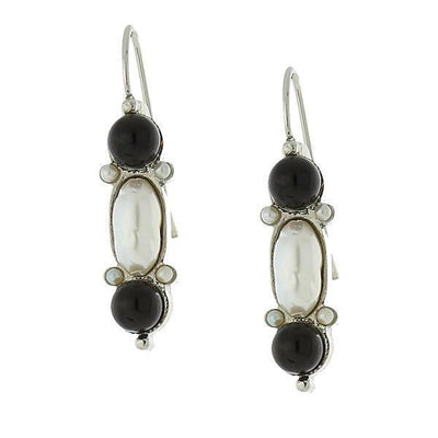 Silver-Tone Costume Cultura Pearl and Gemstone Black Onyx Drop Earrings