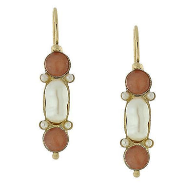 Gold Tone Costume Pearl and Gemstone Carnelian Drop Earrings