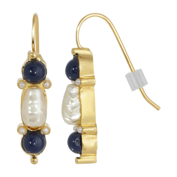 Gold Tone Costume Pearl And Blue Drop Earrings