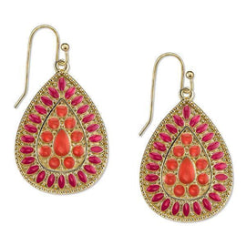 Gold-Tone Coral Enamel Pearshape Drop Earrings