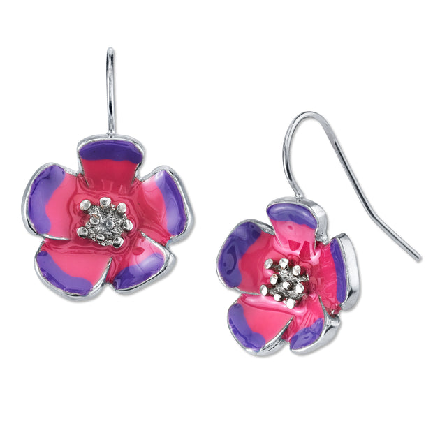 Silver Tone Purple And Pink Enamel Flower Drop Earrings