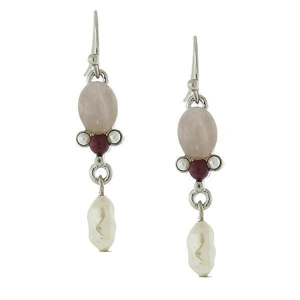 Silver Tone Gemstone Rose Quartz and Costume Pearl Drop Earrings