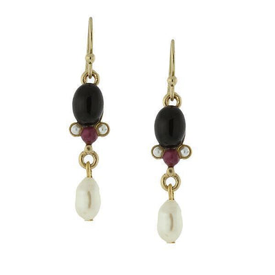 Gold-Tone Gemstone Black Onyx And Costume Pearl Drop Earrings