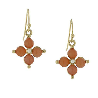 Gold Tone Gemstone Carnelian Drop Earrings