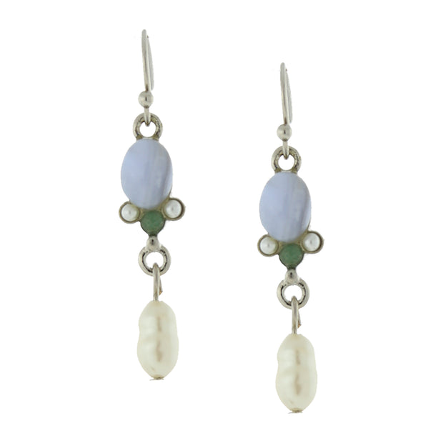 Silver Tone Gemstone Blue Quartz And Costume Pearl Drop Earrings