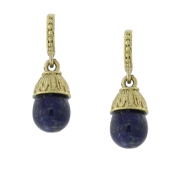 1928 Jewelry 14K Gold Dipped Egg Gemstone Drop Earrings
