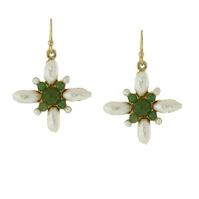 Gold Tone Costume Pearl And Gemstone Green Stone Drop Earrings