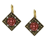 Gold-Tone Pink Carved Rose with Crystal Accents Diamond-Shape Drop Earrings