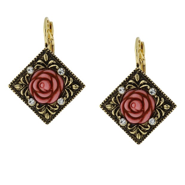 Gold Tone Pink Carved Rose With Crystal Accents Diamond Shape Drop Earrings