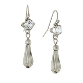Silver-Tone Drop Earrings Made with Swarovski Crystals