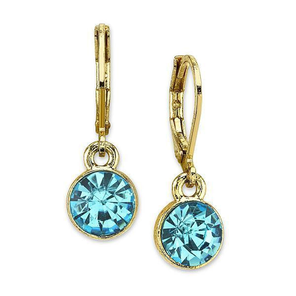 Gold Tone Aquamarine Color Drop Earrings