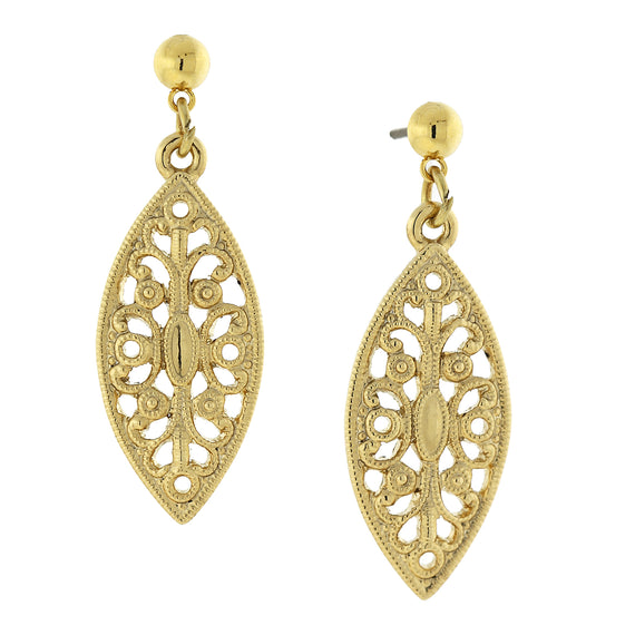 Fashion Jewelry - 14K Gold-Dipped Filigree Post Drop Earrings