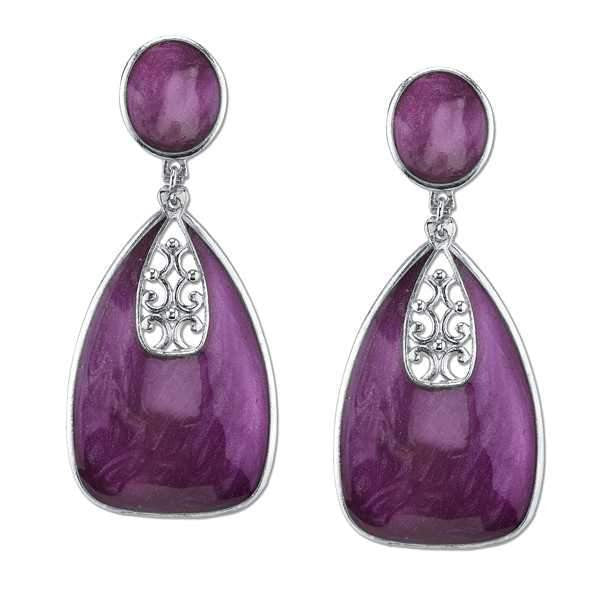 Silver-Tone Purple Enamel Drop Earrings